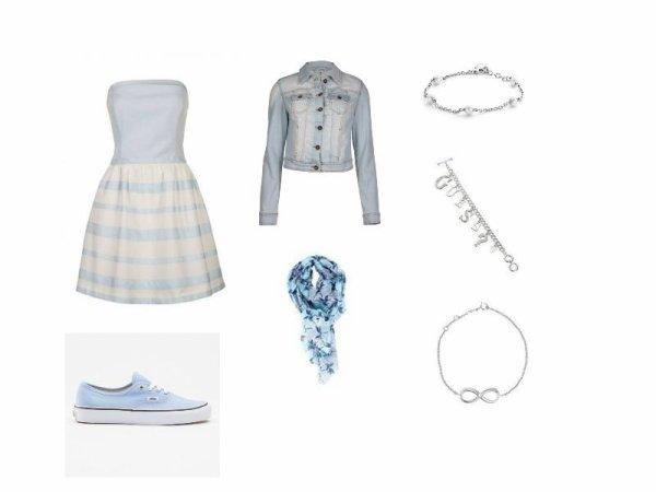 Tenue bleu claire avec la robe de mes rêve