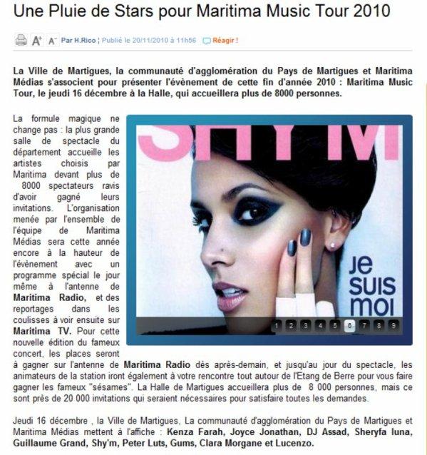 Shy'm sera sur la scène du Maritima Music Tour le 16 décembre à Martigues! Invitations à gagner dès lundi et jusqu'au 16 décembre en écoutant Maritima Radio > # Source