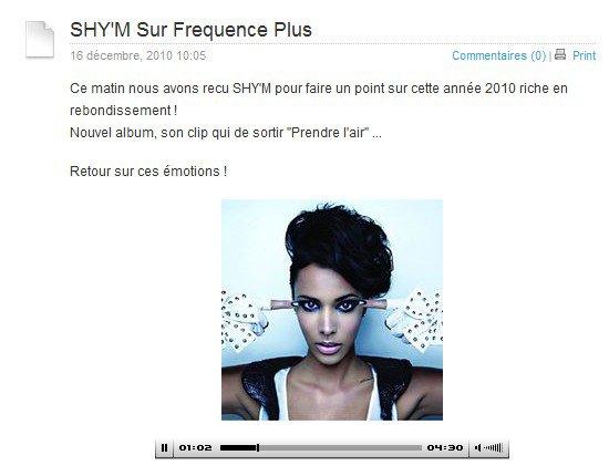 Ce matin, Shy'm était sur Fréquence Plus  Clique ici pour écouter l'interview