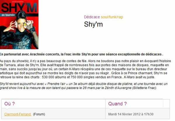 ||| • Shy'm sera en séance dédicaces à la Fnac de Clermont-Ferrand le 14 février • |||