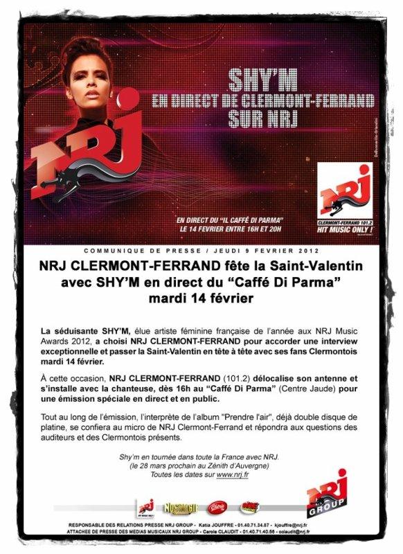 x || Shy'm en séance dédicaces à la Fnac de Clermont-Ferrand demain + Interview Nrj Clermont ! Plus d'infos dans l'article || x