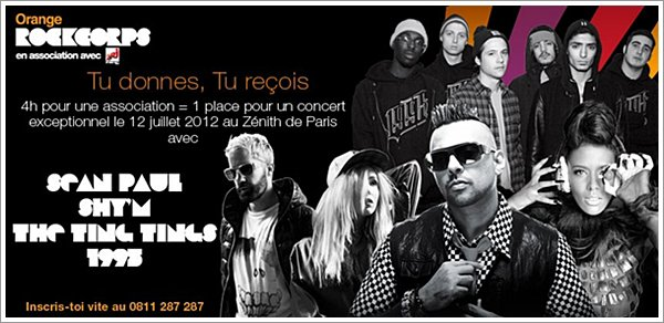 ||| Shy'm, The Ting Tings, Sean Paul et 1995 à l'affiche du concert Orange RockCorps 2012 |||