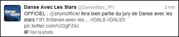 ||| Officiel : Shy'm intègre le jury de «Danse Avec Les Stars» |||