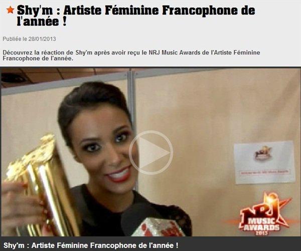 SHY'M EST L'ARTISTE FÉMININE FRANCOPHONE DE L'ANNÉE !!!!