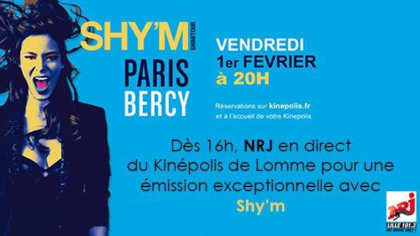 [ Demain (1er février), Shy'm sera sur Nrj Lille en direct du Kinépolis de Lomme ]