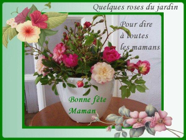 en ce dimanche 8 mai je souhaite une bonne fête à toutes les mamans de Belgique du Canada et d'ailleur
