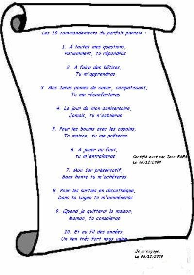 Gut bekannt Les 10 commandements du meilleur parrain - Ma vie et celle de ceux  NJ18