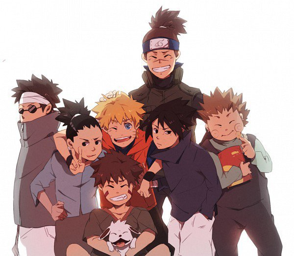 Naruto Sakura Sasuke Shikamaru Ino Choji Kiba: Iruka,Shino,Naruto,Sasuke,Shikamaru,Choji,Kiba,Akamaru