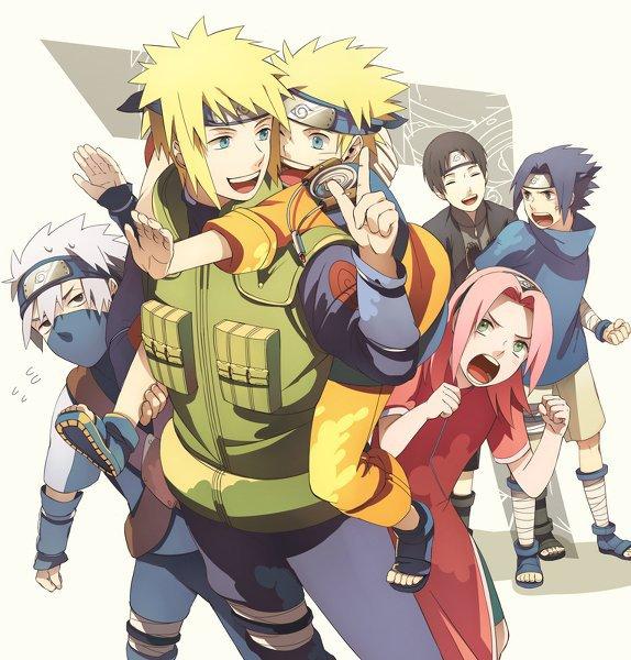 MInato, Naruto, Sakura, Sasuke, Saï, Kakashi. - Image de ...