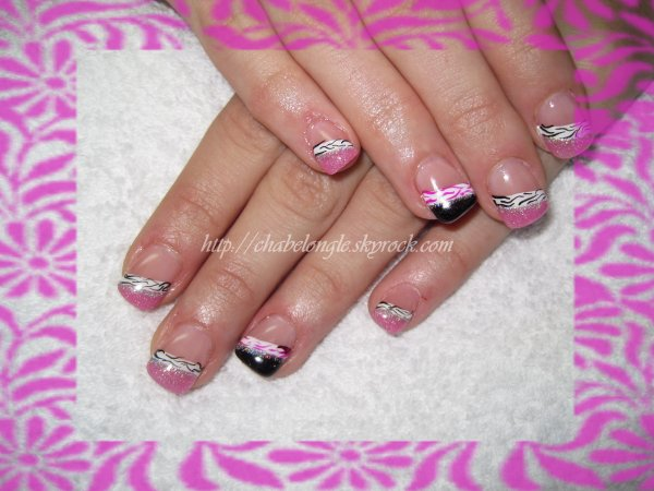 ongles en gel rose fushia