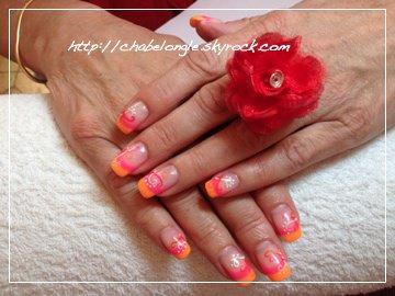 ongles en gel rose orange. Black Bedroom Furniture Sets. Home Design Ideas