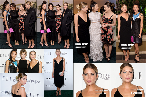 24/10/16 : Miss Benson était l'invitée de la soirée annuelle organisée par la marque Elle, dans Hollywood. Elle y a retrouvé ses deux grandes amies, Lucy Hale et Vanessa Hudgens. Elles avaient l'air de beaucoup s'amuser, ça fait plaisir.[/font=Arial]