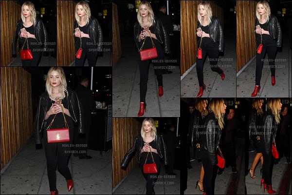 27/02/16 : Notre Ashley a été aperçue quittant le Nice Guy en compagnie d'Hailey Baldwin, dans Los Angeles. Petites nuances de rouge grâce aux chaussures et au sac dans cette tenue entièrement noire sinon. J'adore ! Un beau top pour moi.[/font=Arial]
