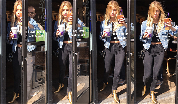 26/02/16 : Notre baby Benson a été repérée par les paparazzis devant le Coffee Bean sur Sunset Plaza. (CA) J'aime beaucoup la tenue qu'elle porte, c'est simple mais ça colle à son style. C'est donc un beau top que je lui attribue là. Et vous ?[/font=Arial]
