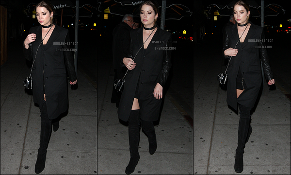 22/01/16 : Ashley Victoria Benson a été photographiée à la sortie du Nice Guy Club, à Los Angeles. (CA) Total look noir pour l'actrice, comme d'hab. Néanmoins, la tenue est plutôt sympa et j'adore sa paire de bottes. Un top pour moi ![/font=Arial]