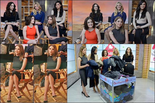 12/01/16 : Nos cinq  menteuses ont été aperçues sur le plateau de l'émission, Good Morning America, à NY. Quel plaisir de voir les cinq actrices toutes ensemble. J'aime bien la robe d'Ashley, elle est simple. Je lui attribue un beau top, et vous ?[/font=Arial]