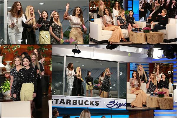 12/04/17 : Voici une première photo d'Ashley et des filles sur le plateau du Ellen DeGeneres Show, à Burbank. Je vous ai également posté une vidéo où elle nous apprennent que l'idée du tatouage vient d'Ashley. De plus, on les voit jouer à un jeu.[/font=Arial]
