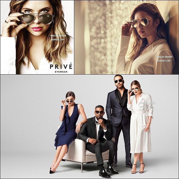 Découvrez le photoshoot d'Ash pour la marque de lunettes de soleil, Prive Goods. Hailee Steinfeld, Jamie Foxx et Jeremy Piven ont aussi été choisis afin de représenter la marque. Je trouve Ashley très belle sur les clichés.