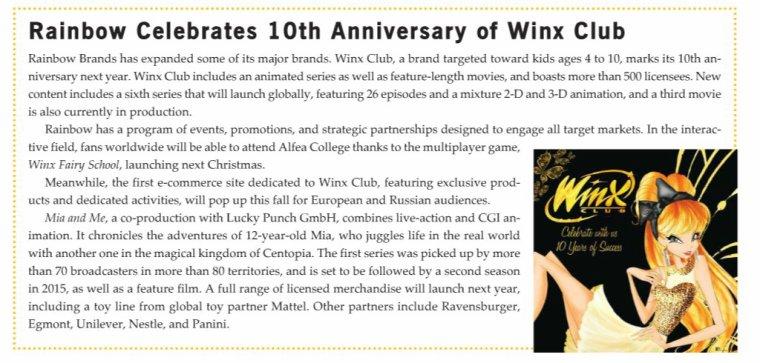 26/10/13 : winx liscensing pour les 10 ans de winx club !