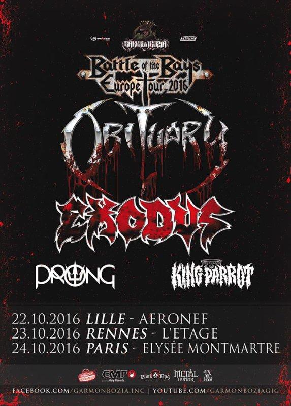 OBITUARY, EXODUS, PRONG et KING PARROT-tournée européenne