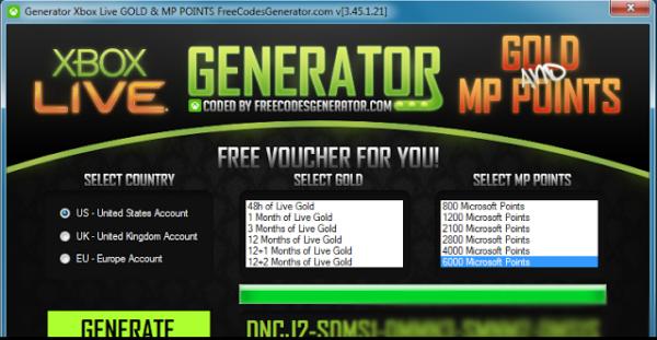 Télécharger Gratuitement Microsoft Points Générateur - Xbox Live gold Generator Septembre 2013