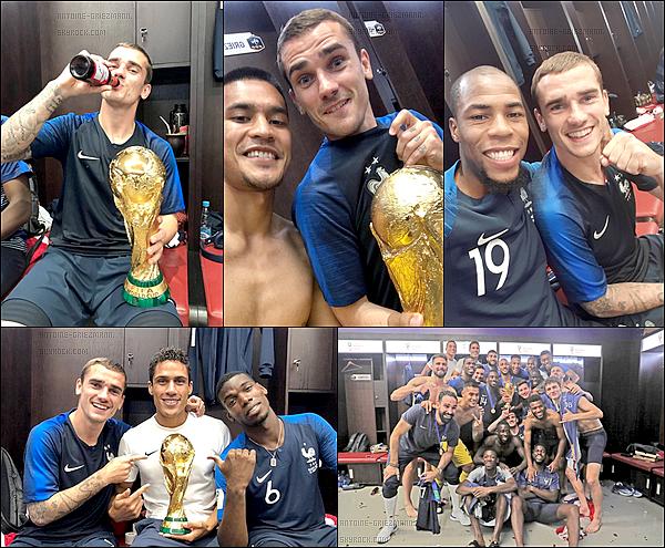 15 Juillet 2018: ▬20 ans après, la France est championne du monde pour la deuxième fois de son histoire. Nos Bleus remportent donc cette coupe du monde et cette deuxième étoile sur un score de 4-2. Buts : A.Griezmann, K.Mbappé, P.Pogba et un csc.