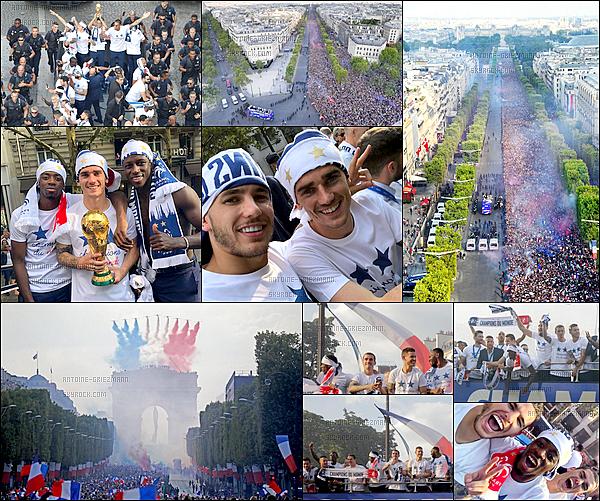 16 Juillet 2018: ▬Nos Champions du Monde défilent sur les Champs-Elysées comme il y a 20 ans auparavant. La foule était immense, un moment qui va sans aucun doute être exceptionnel et inoubliable. C'est totalement mérité, encore bravo et merci à eux.