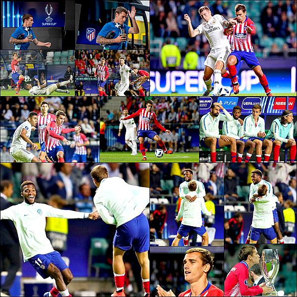 15 Août2018: ▬L'Atletico Madrid affrontait le Real Madrid en super coupe d'Europe à Tallin. (2-4) Un peu juste physiquement Antoine sort à la 57è. L'Atletico remporte le match au terme d'une prolongation. Buts : Costa, Saúl et Koke.