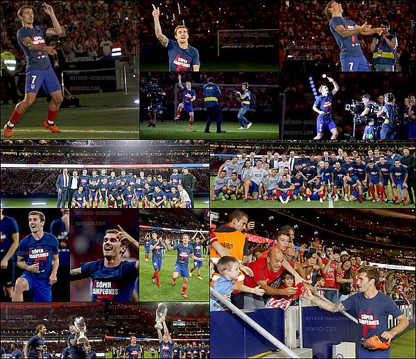 25 Août2018: ▬Après le match, les joueurs de l'Atletico Madrid fêtaient le titre de la supercoupe du 15 août.