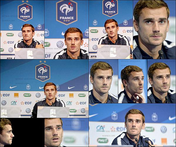 8 septembre 2018: ▬À laveille d'affronter les Pays-Bas, Antoine Griezmann était en conférencede presse.  Les Bleus retrouveront le Stade de France. Le premier match en France en tant que Champions du monde ! A l'issus du match ils fêteront le titre.