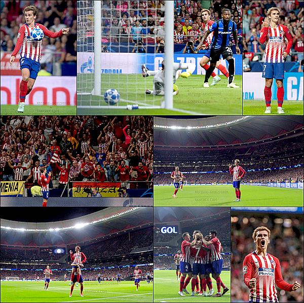 3 Octobre 2018: ▬Littéralement porté par Antoine Griezmann, l'Atletico Madrid domine Bruges en LDC. (3-1) Encore une fois, l'Atletico Madrid s'en est remis à Antoine Griezmann. Il a signé un doublé contre Bruges, pour porter les siens vers la victoire.