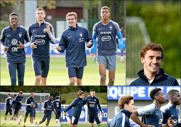13 octobre 2018: ▬Les Bleus ont repris les entraînements samedi en fin d'après-midi à Clairefontaine. Au programme : travail de courses et frappes devant le but. + Avec la défaite de l'Allemagne, les Bleus sont pour le moment premier du groupe.