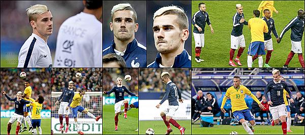 26 Mars 2015: ▬La France recevait le Brésil au stade de France pour un match amical. (3-1) Les Bleus ont eu du mal à être dangereux dans le jeu, rien de très grave puisqu'il s'agit d'un match amical. But : R.Varane (21').