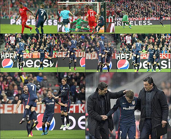 3 Mai 2016: ▬L'Atletico Madrid affrontait leBayern Munich en match retour de demi-finalede LDC. (2-1) L'Atletico se qualifie pour la finale de la Ligue des champions. Les Colchoneros s'inclinent, mais le but d'Antoine Griezmann a fait la différence.