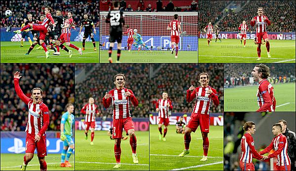 21Février2017: ▬L'Atletico Madrid affrontait leLeverkusen en 8ès de finale de Ligue des Champions. (2-4) Les joueurs de Simeone ont fait un bon pas vers les quarts de finale. Buts :Saúl ( 17' ), A. Griezmann ( 25' ), K. Gameiro ( 59' sp ) et Torres ( 86' ).