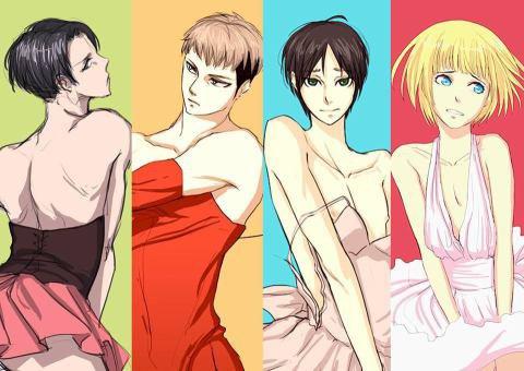 Armin en neko travesti  et Livaï & Eren en femmes