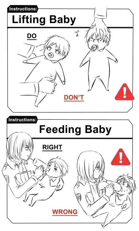 S'occuper d'un bébé mode d'emploi par les persos de SnK