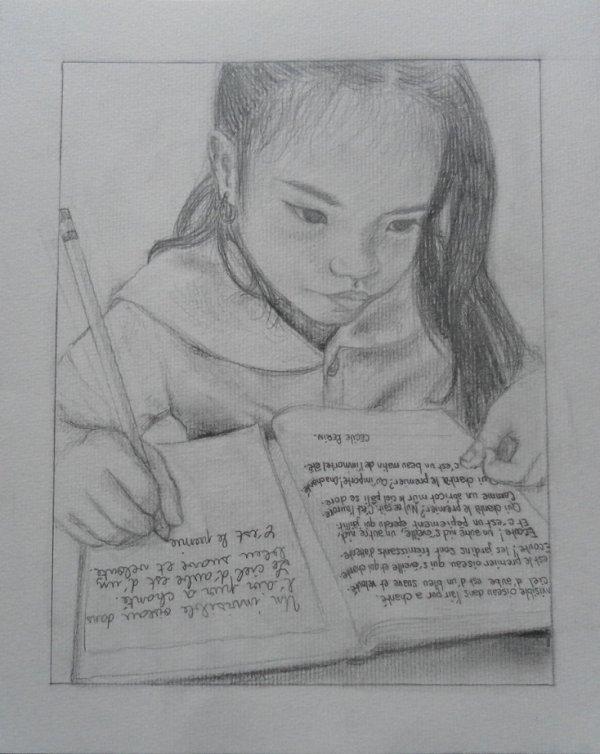 Petite fille écrivant un poème :)