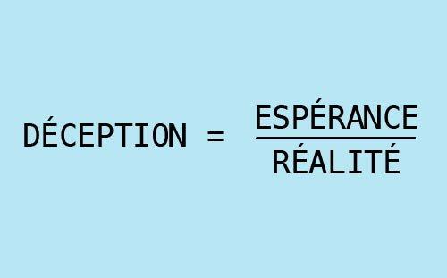 Plus l'espérance est grande, plus la déception est violente