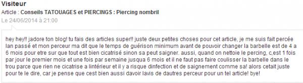 Conseils TATOUAGES et PIERCINGS : Piercing nombril