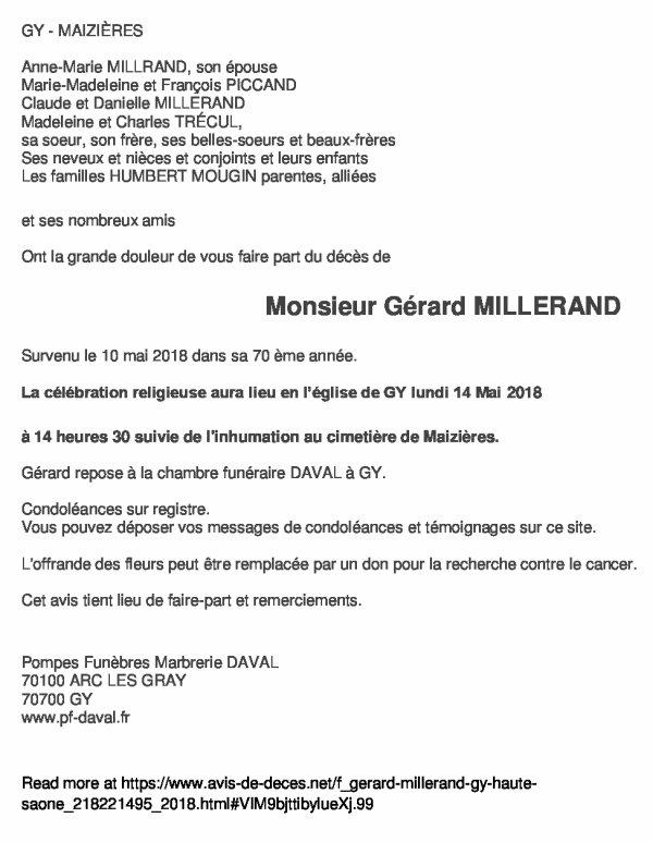 Décès de Gérard MILLERAND, ancien de Pelousey 1958-1964