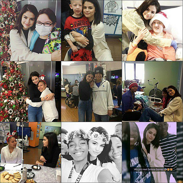 . 24.12.16 . ─  Selena Gomez a rendue visite aux enfants de l'hôpital « Children's Medical Center » au Texas. .
