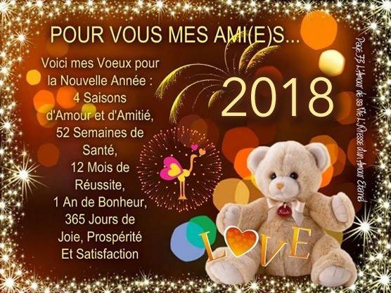 Famille ,amis et amies , je vous souhaite une bonne année 2018