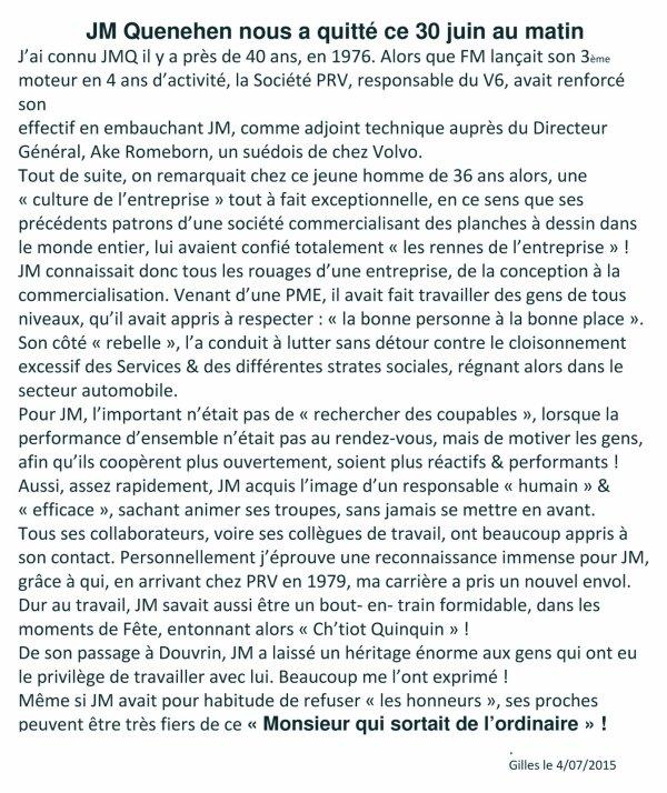 Hommage de Gilles pour Jean Marie