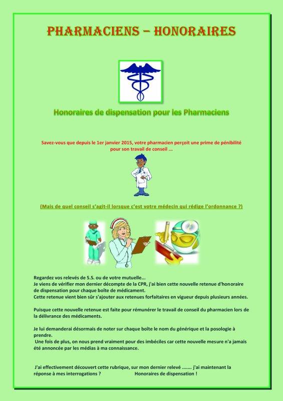 Honoraires de dispensassions pour les Pharmaciens