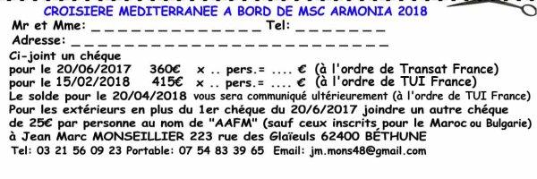 Bulletin d'inscription Croisière Méditéranéenne