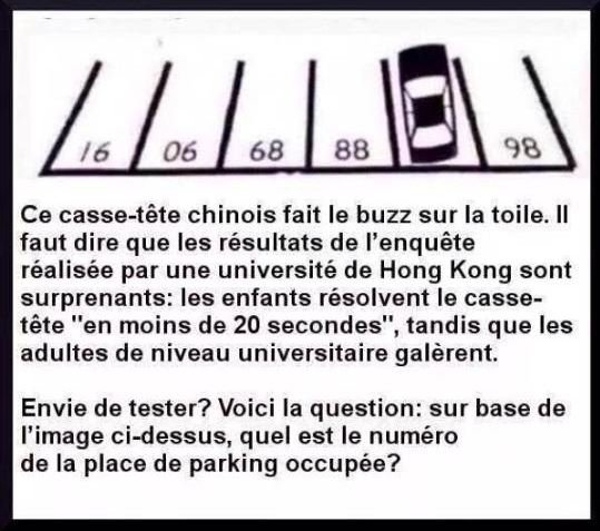 Réponse place parking