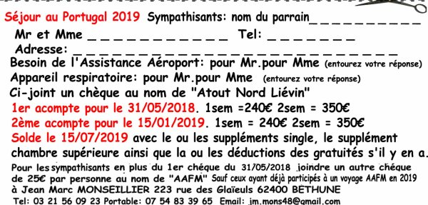 Bulletin d'inscription Portugal 2019