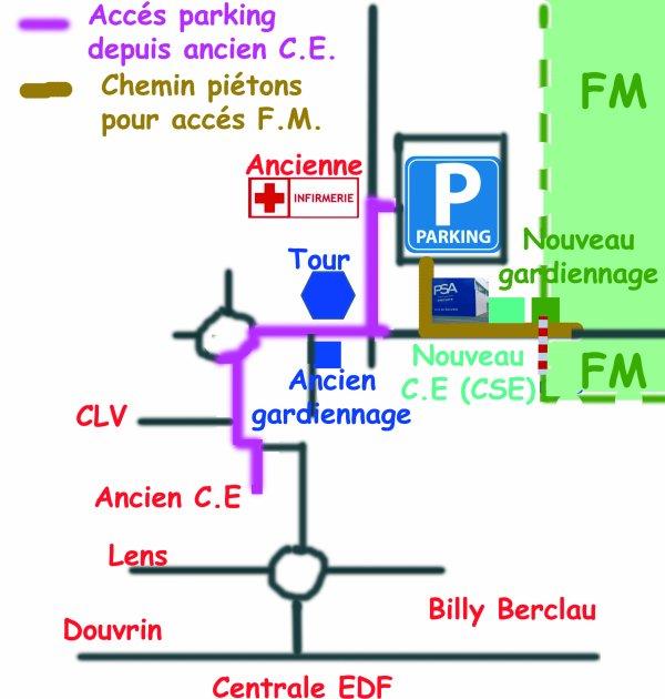 Nouveau plan d'accès Parking, FM et CSE