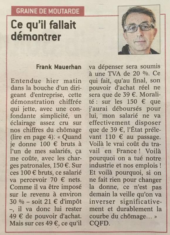 Ce qui tue notre emploi en FRANCE